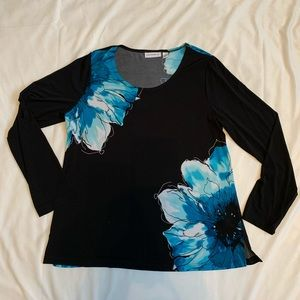 Susan Graver black long sleeve with blue flowers M